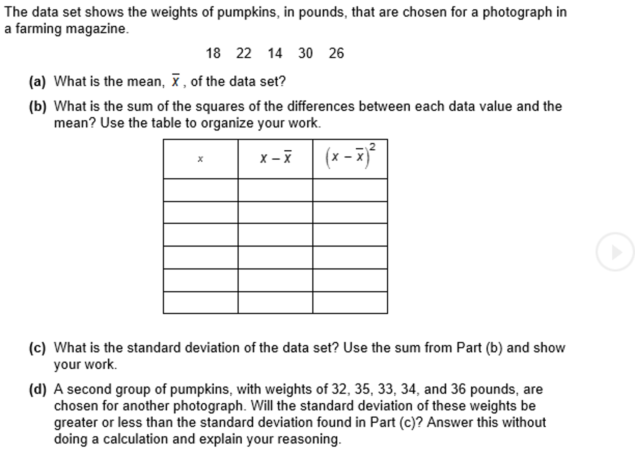 The Data Set Shows The Weights Of Pumpkins, In Pounds, That Are Chosen For  How To Find Standard Deviation Ap Stats Solution For How