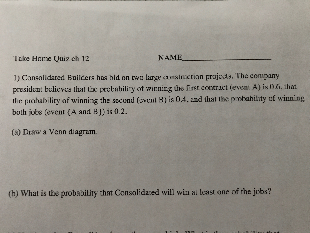 Solved: Take Home Quiz Ch 12 NAME 1) Consolidated Builders
