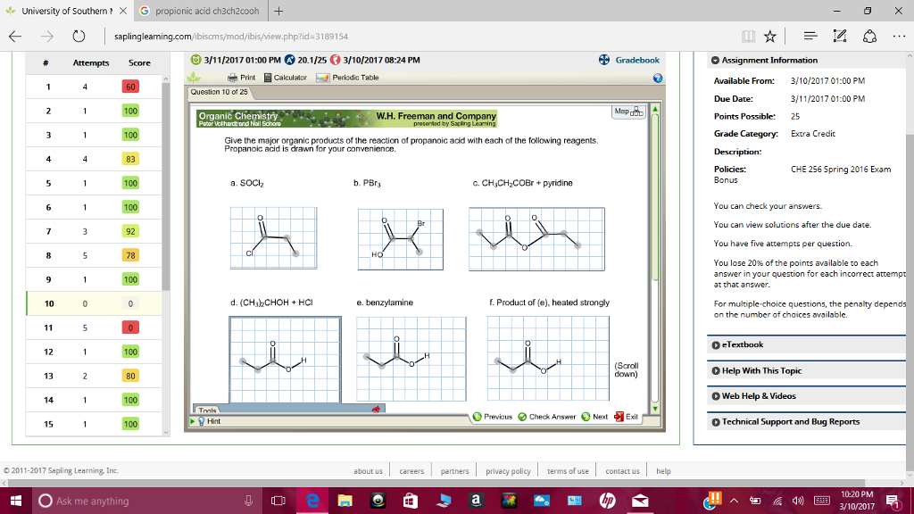 Solved give the major organic products of the reaction of university of southern g propionic acid ch3ch2cooh smodibis viewp fandeluxe Images