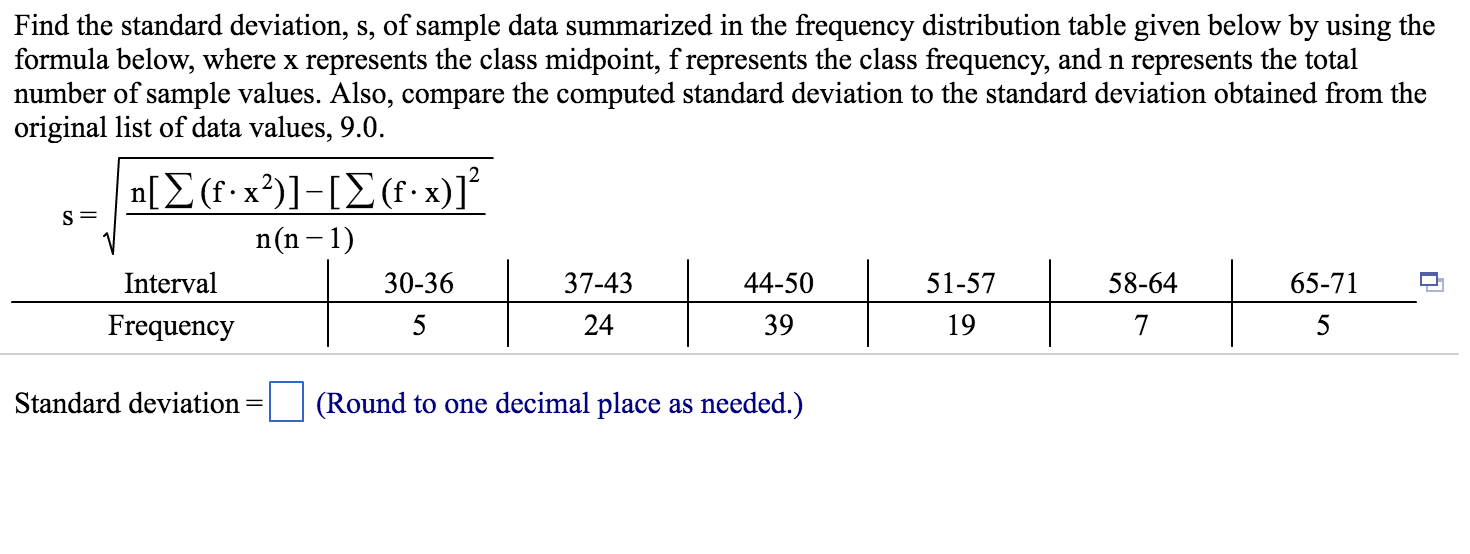 Find The Standard Deviation, S, Of Sample Data Sum