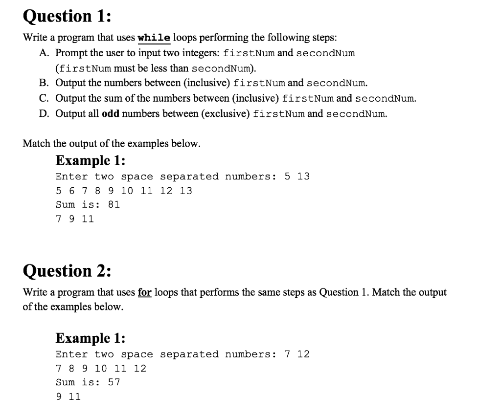 solved question 1 write a program that uses while loops