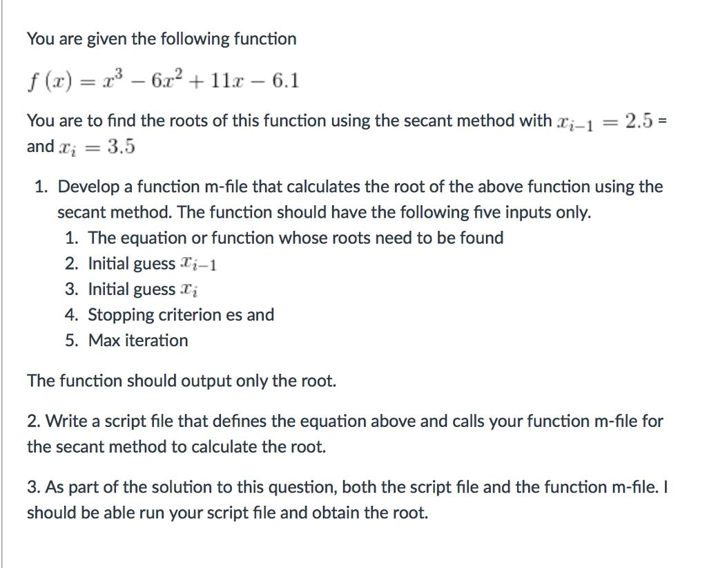 Secant Method M File