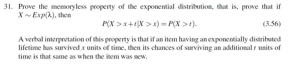 Solved: 31  Prove The Memoryless Property Of The Exponenti