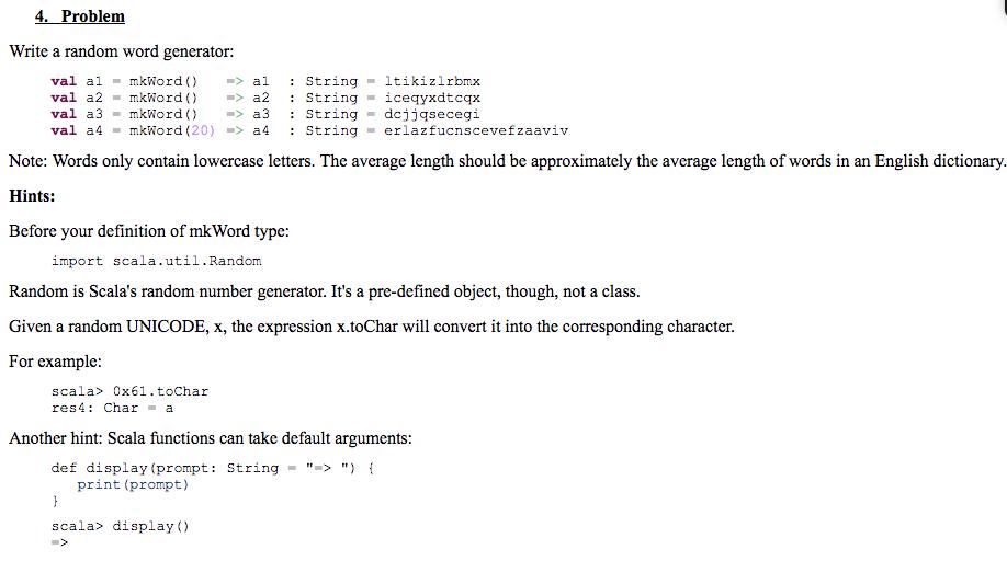 problem write a random word generator val almkwordal stringltikizlrbmx val a2mkword a2