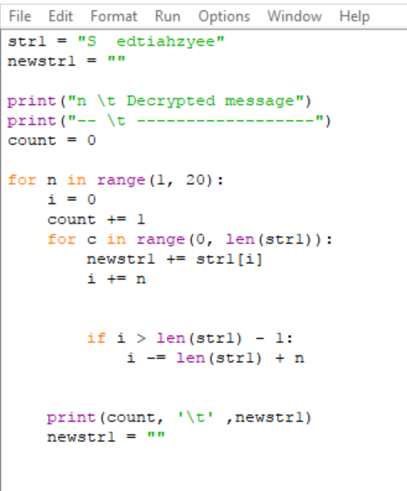 Solved: Write A Python Program To Decrypt A Simple Transpo