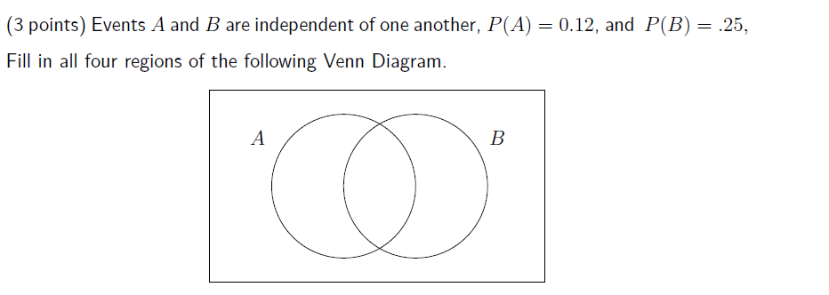 Solved 3 Points Events A And B Are Independent Of One A