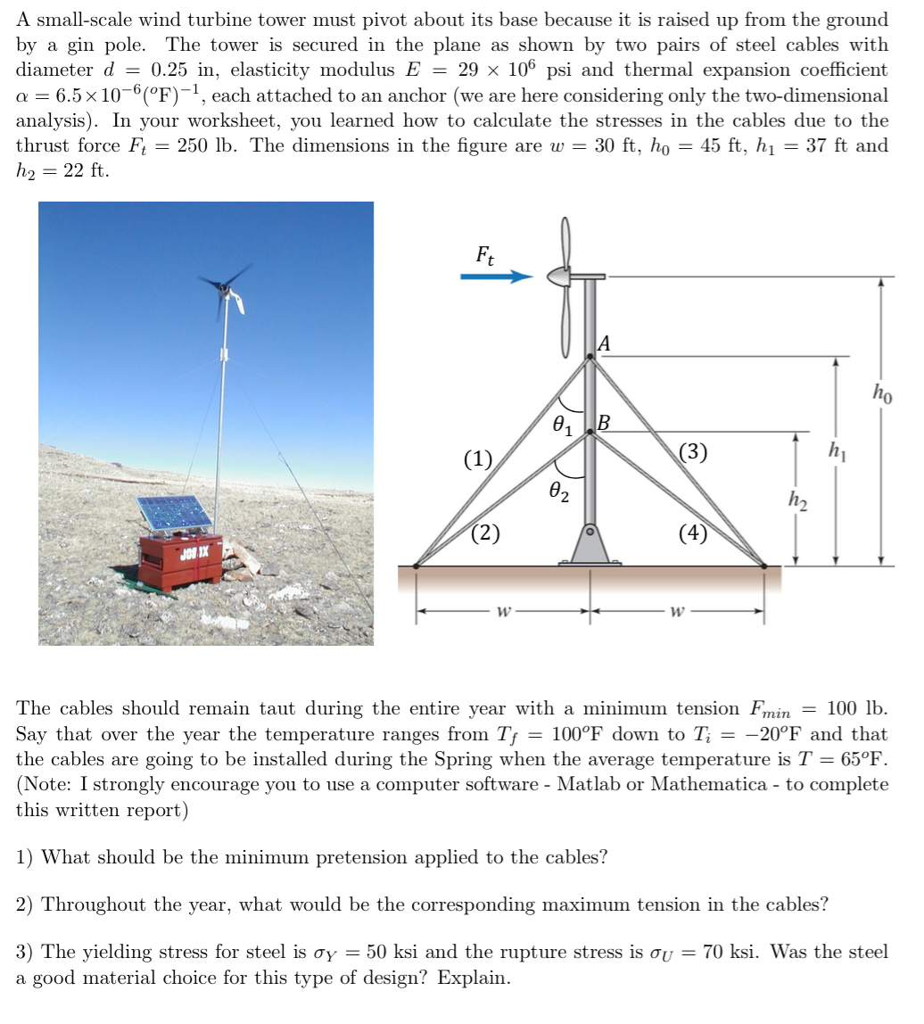 A Small Scale Wind Turbine Tower Must Pivot About Chegg Com
