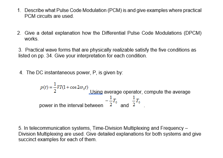 Solved: Describe What Pulse Code Modulation (PCM) Is And G