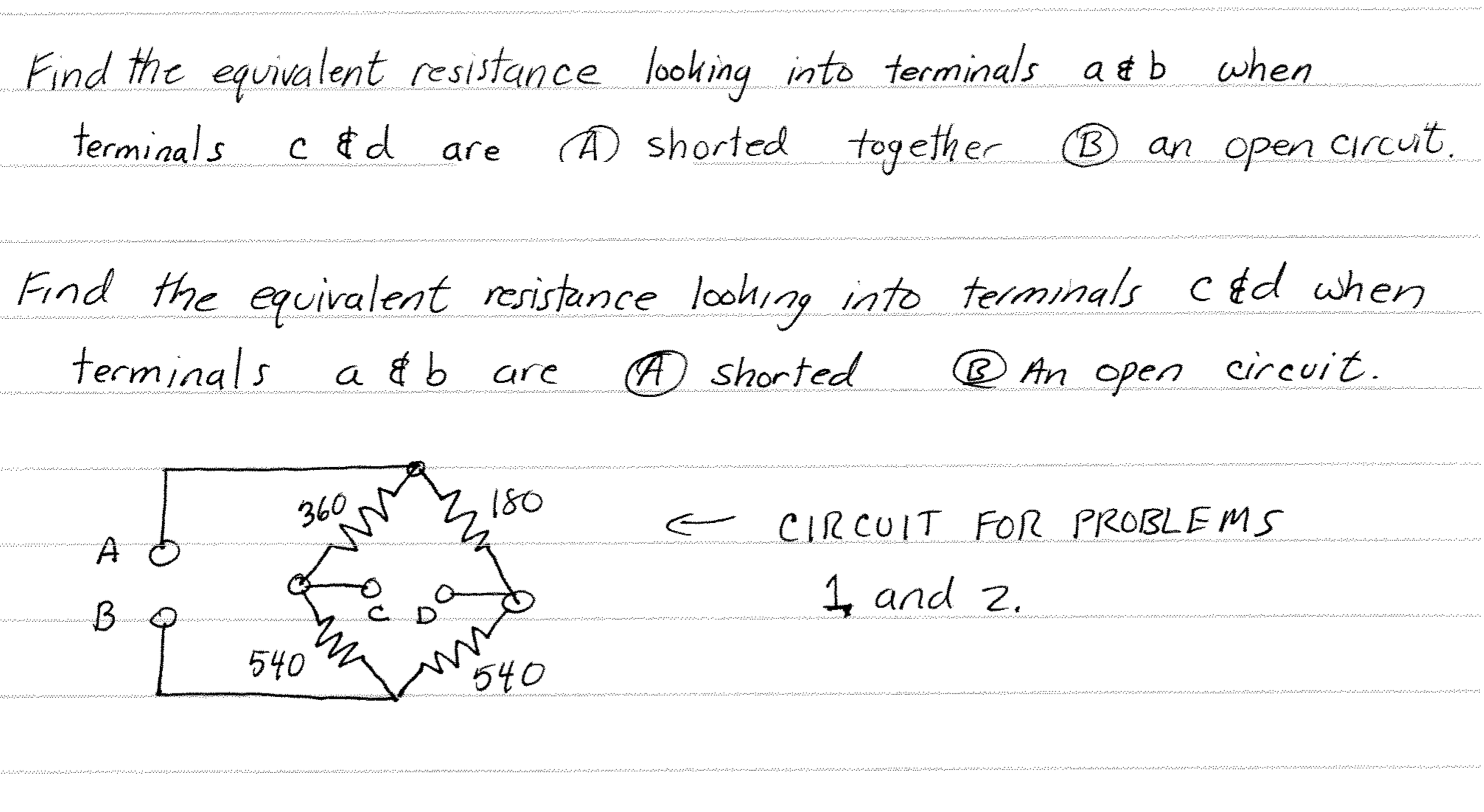 Solved Find The Equivalent Resistance Looking Into Termin In This Circuit Phpzcamnw