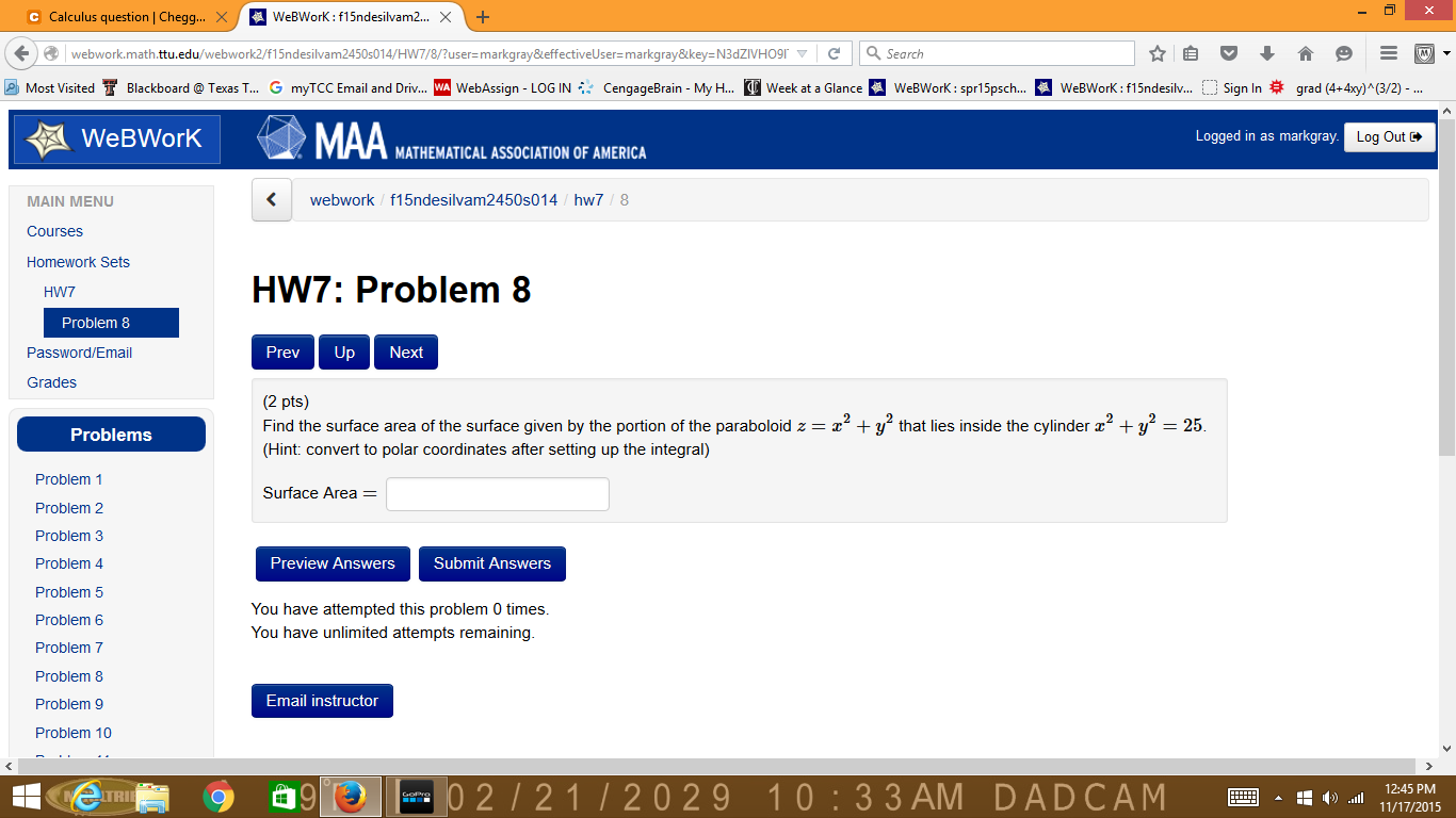 Find The Surface Area, Multiply How Enter Image Description Here  Surfaceintegrals C Calculus Question I Chegg X A 5nd X 3 Webwork Ma