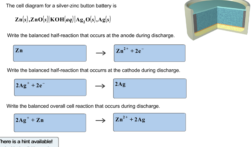 Solved: The Cell Diagram For A Silver-zinc Button Battery ...
