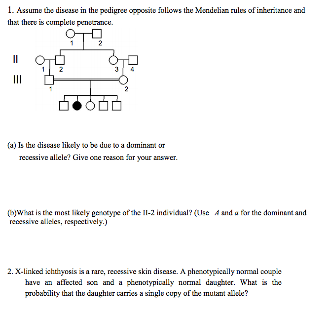 Solved: Assume The Disease In The Pedigree Opposite Follow