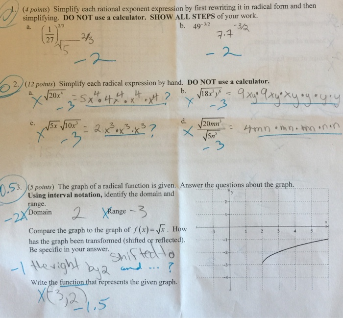 Evaluating numbers with rational exponents by using radical.