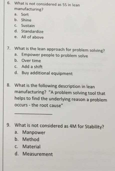 Solved: What Is Not Considered As 5S In Lean Manufacturing