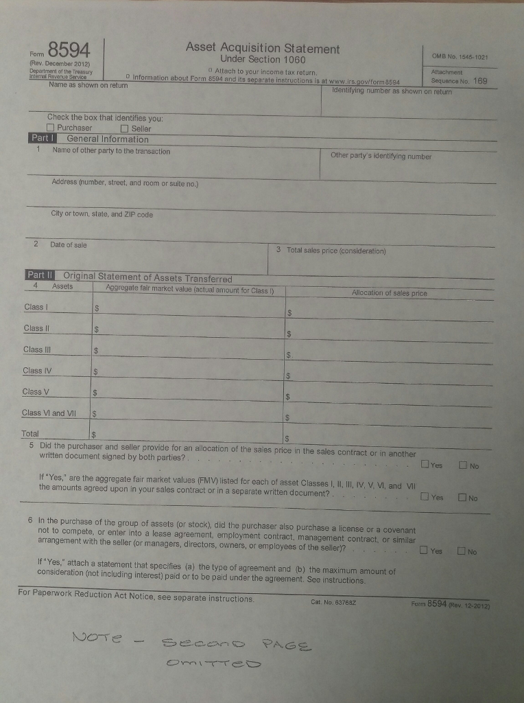 Solved Use Form 8594 Target Corporations Assets Are Acq
