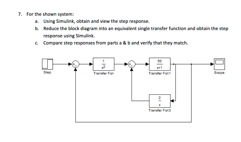 for the shown system: using simulink, obtain and view the step response