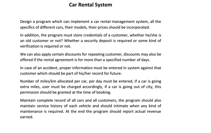 Solved: Design A Program Which Can Implement A Car Rental