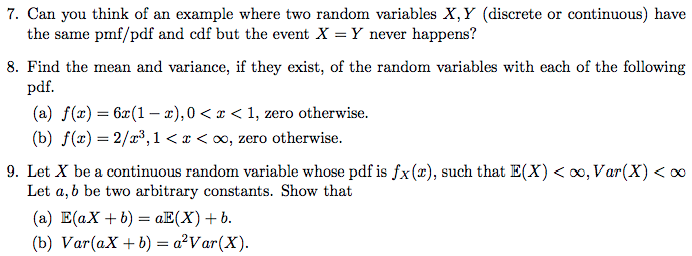 Solved 7 Can You Think Of An Example Where Two Random Va