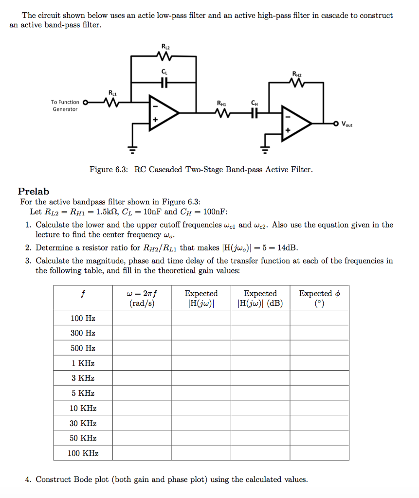 High Pass Filter Circuit Diagram Solved The Shown Below Uses An Actie Low Fil Question And Active In Cascade T