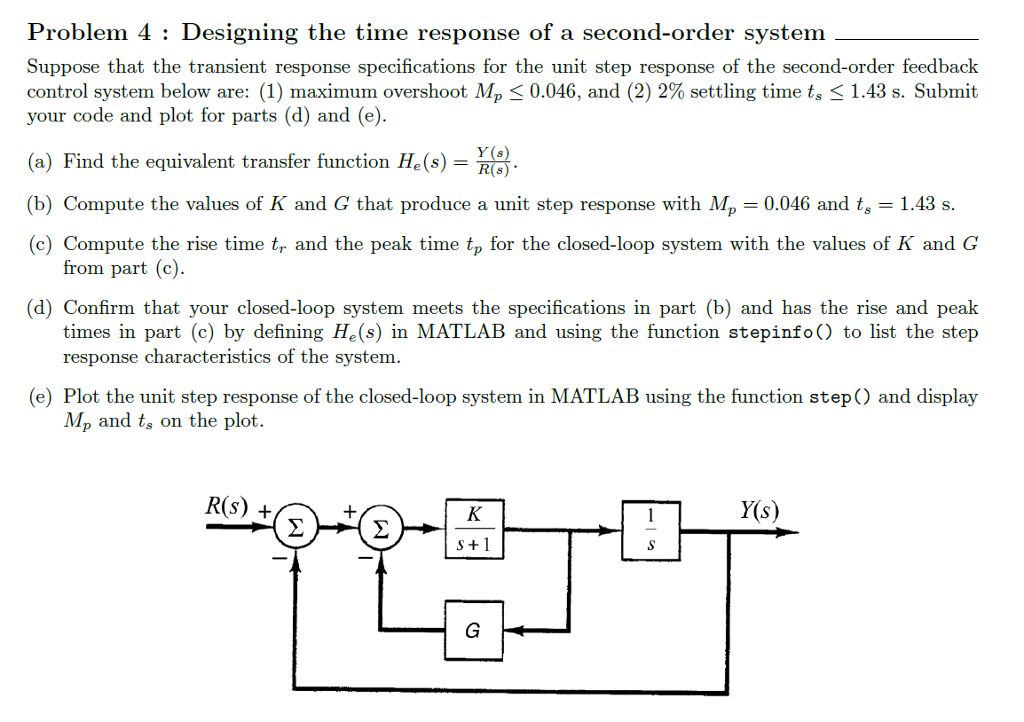 Mechanical engineering archive february 24 2017 chegg problem 4 designing the time response of a second order system suppose that the transient fandeluxe Images