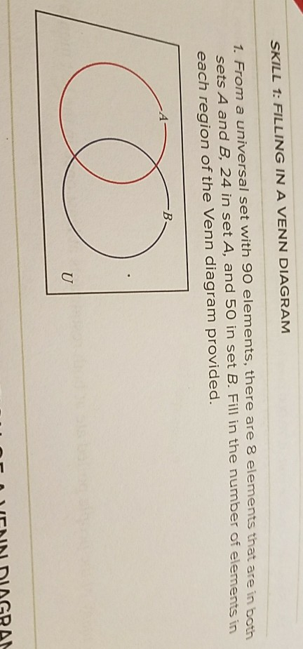 Solved Skill 1 Filling In A Venn Diagram 1 From A Unive