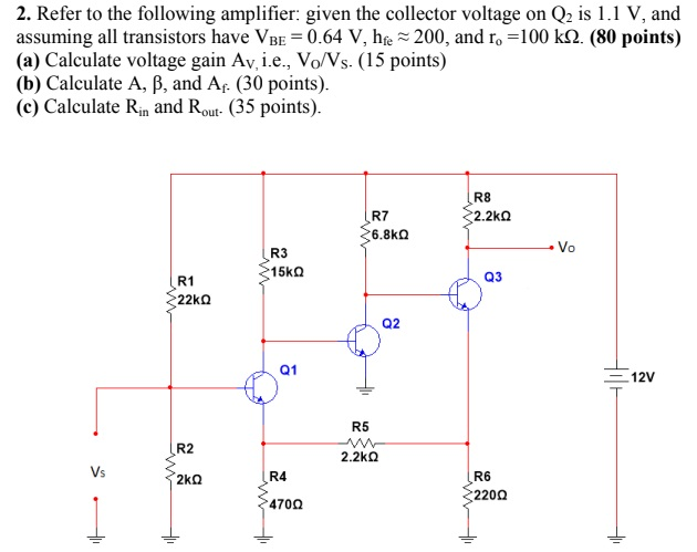 2. Refer to the following amplifier: given the collector voltage on Q2 is 1.1 V, and assuming all transistors have VBE-0.64 V, he ~ 200, and ro-100 kΩ.(80 points) (a) Calculate voltage gain Av. i.e., Vo/Vs. (15 points) (b) Calculate A, B, and Af (30 points) (c) Calculate Rin and Rout- (35 points) R8 2.2kQ R7 R3 15kQ Q3 R1 Q2 01 12V R5 R2 2.2kΩ R6 220Ω R4 470Ω