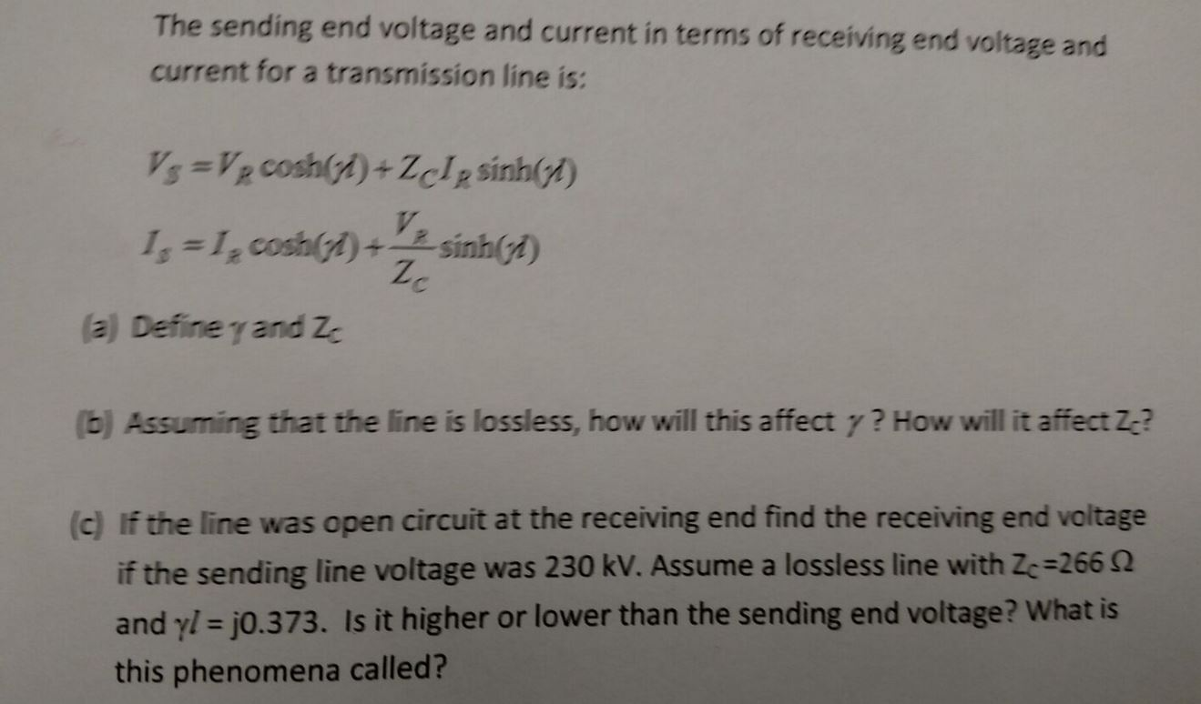 Solved: The Sending End Voltage And Current In Terms Of Re