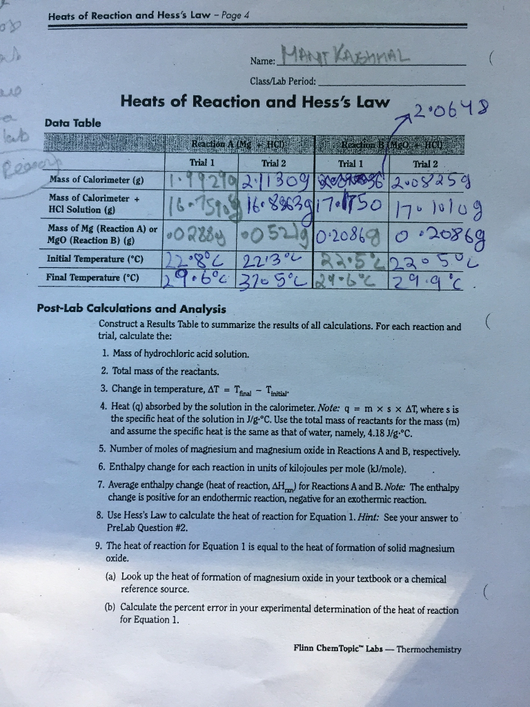 heat of combustion lab report