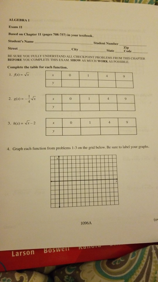 Solved: ALGEBRA 1 Exam 11 Based On Chapter 11 (pages 708-7