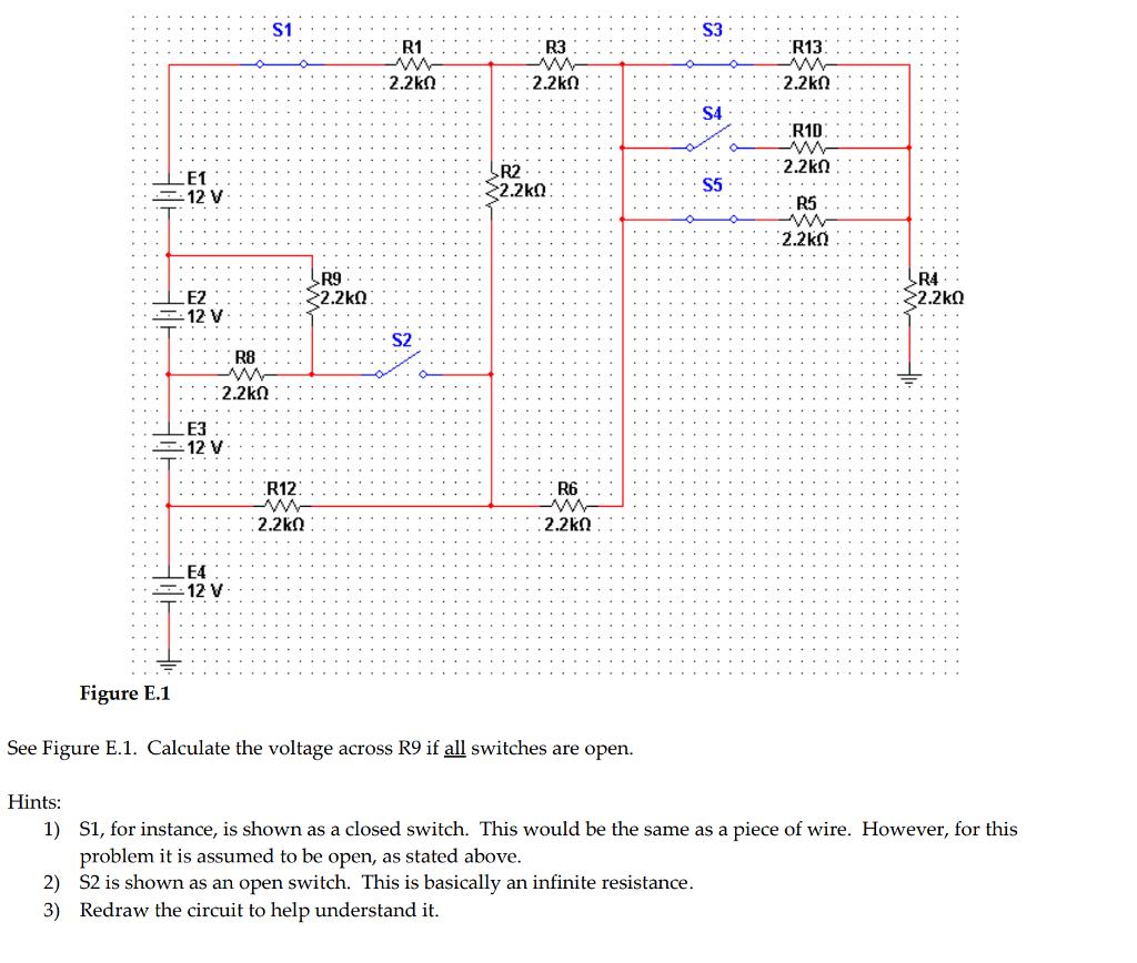Question: R1D R2 12 V E3 LEA . . . .::;''' . : ....'''' Figure E.1 See  Figure E.1. Calculate the voltage ac.