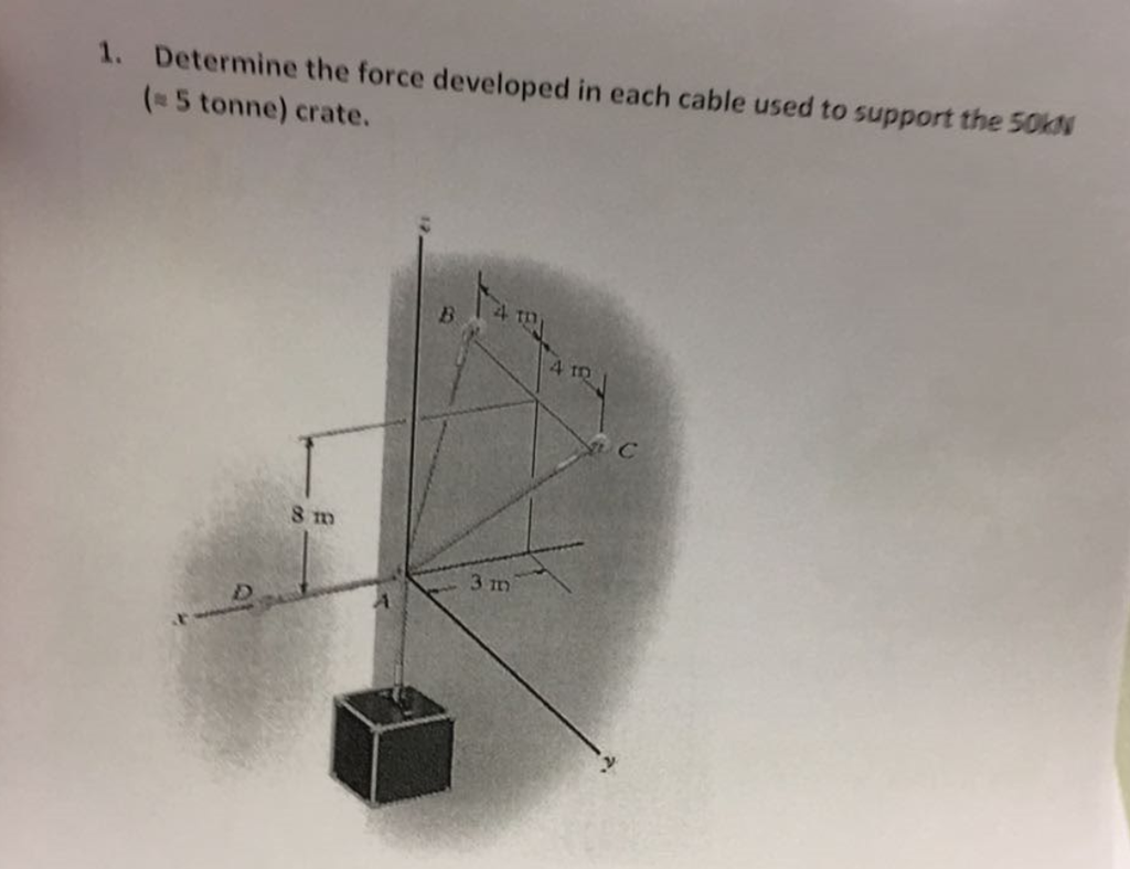 1 Determine the force developed in each