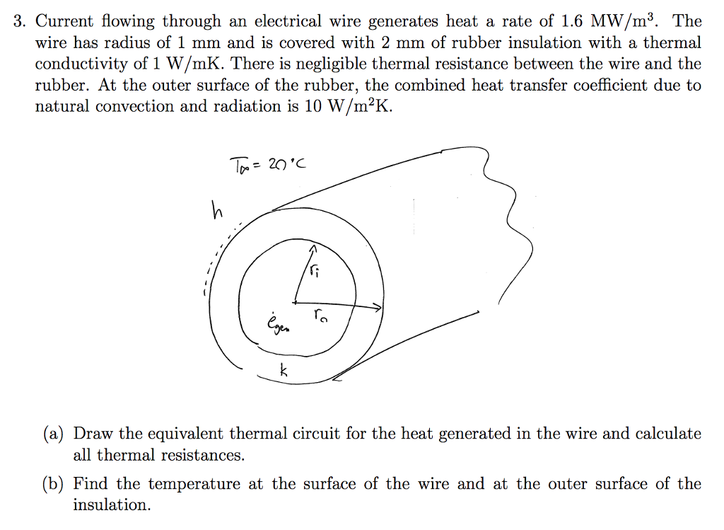 Current Flowing Through An Electrical Wire Generates Heat A Rate Of 1 6 Mw