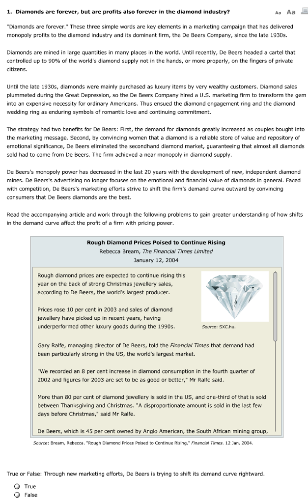 de beers and the global diamond industry case study answers De beers blood diamond our global fashion production industry aka: what are some horrifying examples of corporate evil/greed.