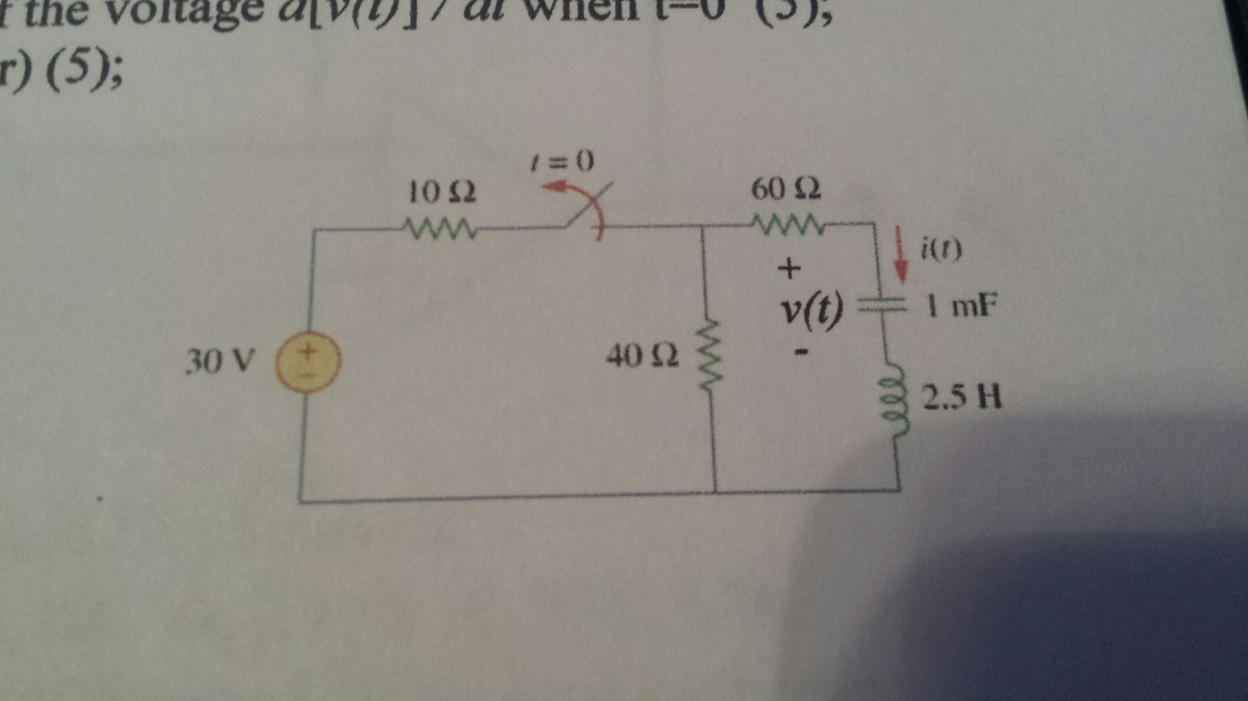 Solved: Consider The Above Series RLC Circuit. The Switch ...