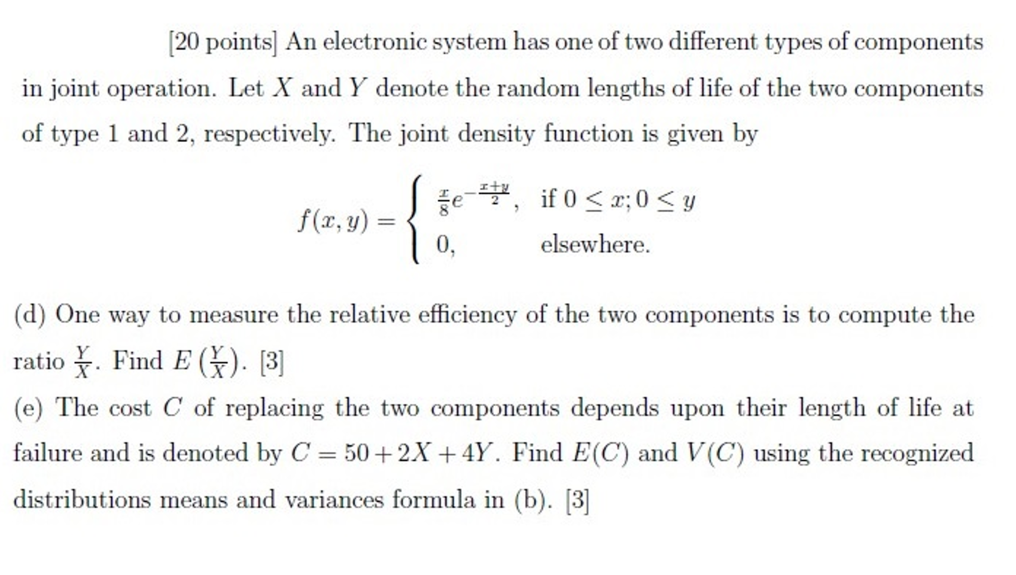 Solved An Electronic System Has One Of Two Different Type