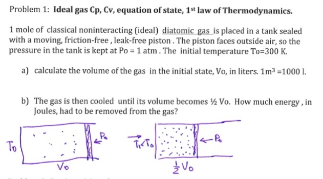 solved  ideal gas cp  cv  equation of state  1 st law of t