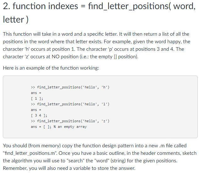 2 Function Indexes Find Letter Positions Word This