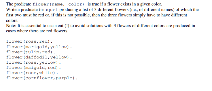 The Predicate Flower Name Color Is True If A Fl Chegg