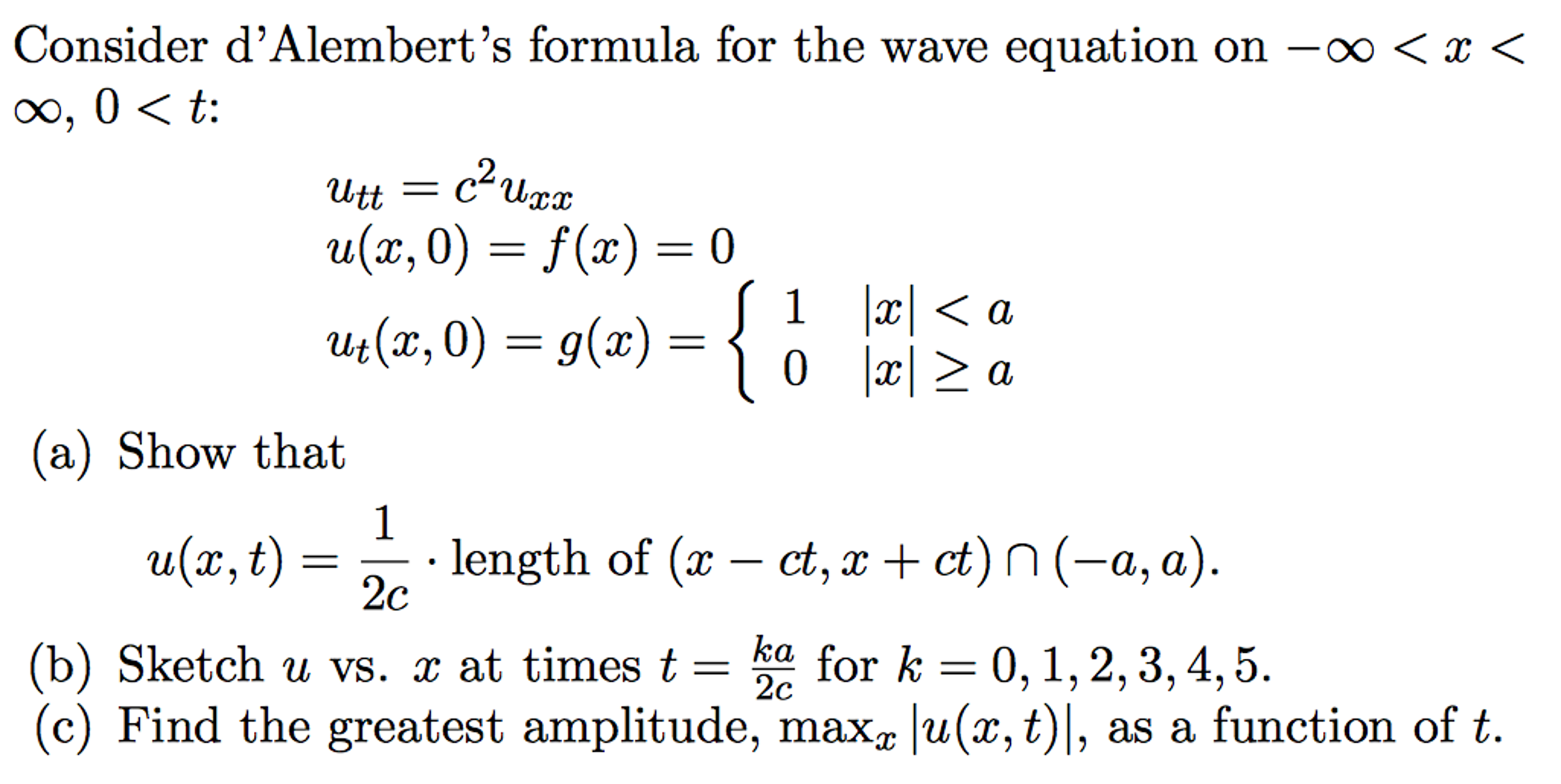 Partial Differential Equation (PDE), D'Alembert's       Chegg com