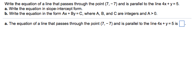 Solved Write The Equation Of A Line That Passes Through T