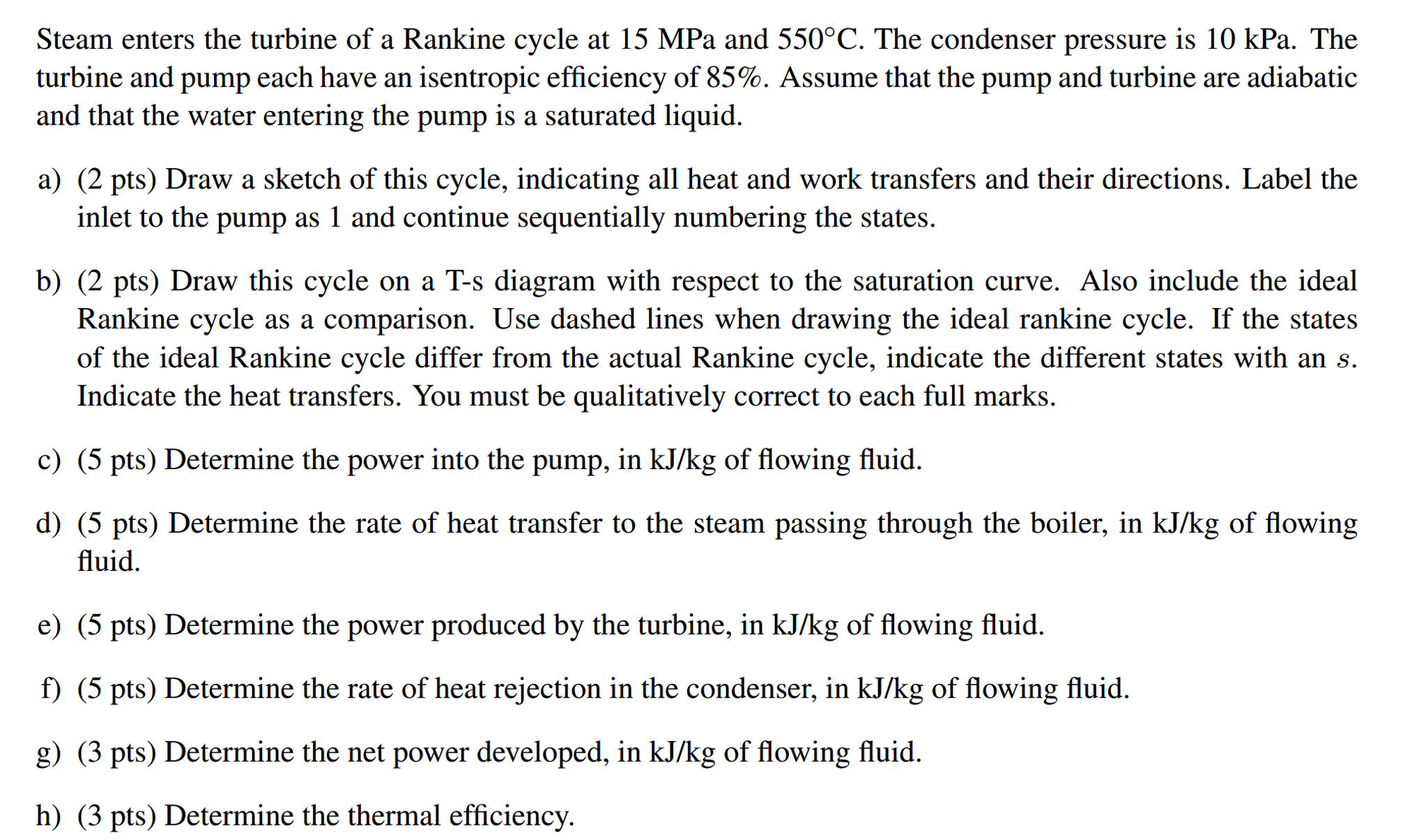 Solved: Steam Enters The Turbine Of A Rankine Cycle At 15