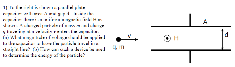 To the right is shown a parallel plate capacitor w