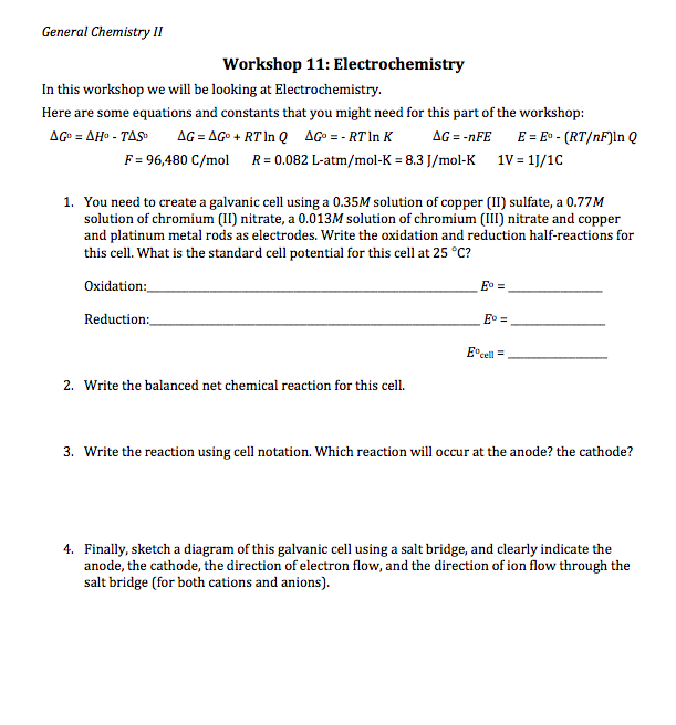 Solved: General Chemistry II Workshop 11: Electrochemistry