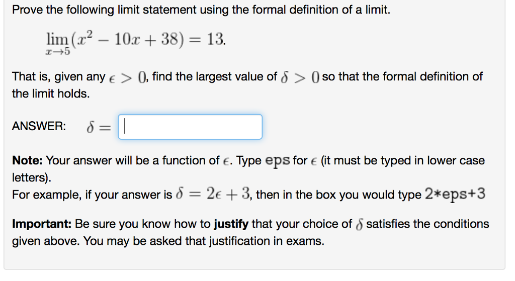 d9838bf2c0e Prove the following limit statement using the formal definition of a limit.  lins(12