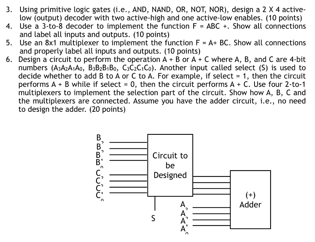 3. Using primitive logic gates (i.e., AND, NAND, OR, NOT