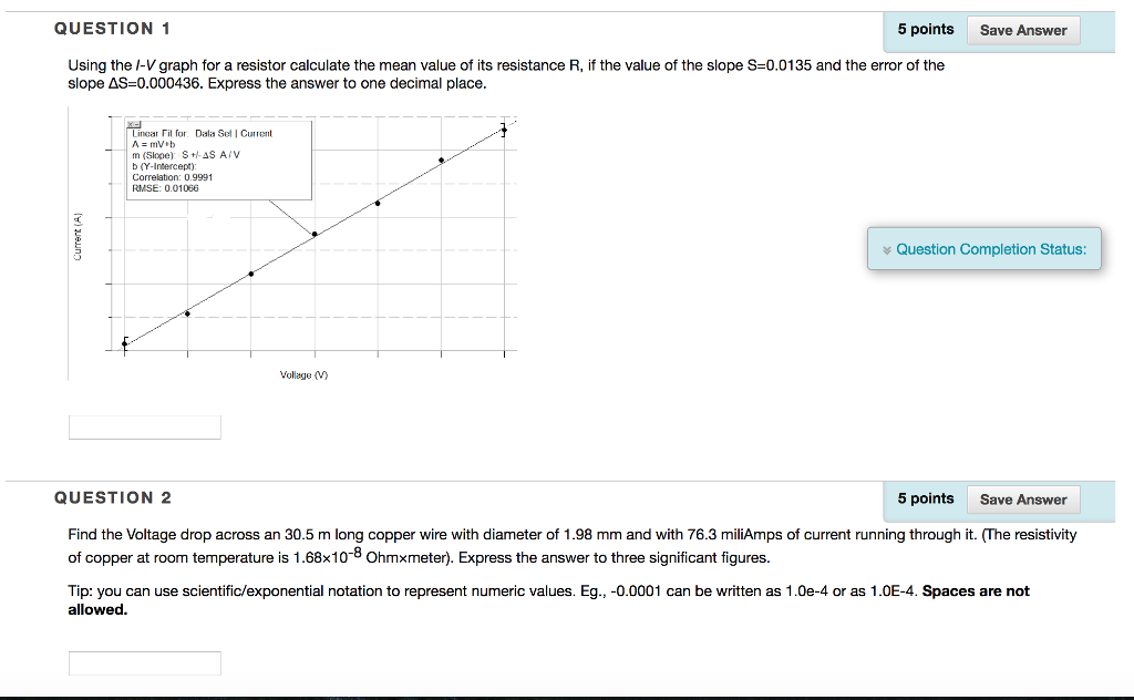Solved: QUESTION 1 5 Points Save Answer Using The I-V Grap ...
