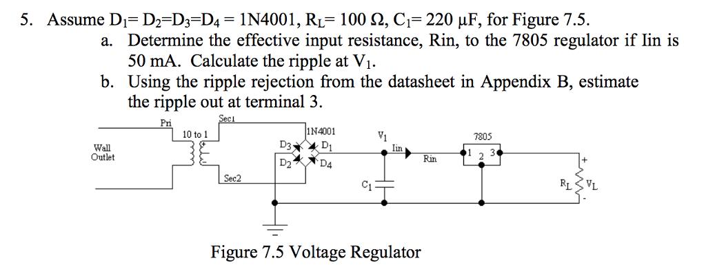 Solved: 5  Assume D,-D2D3D4-1 N4001, RL-100 Ω, C,-220 μF