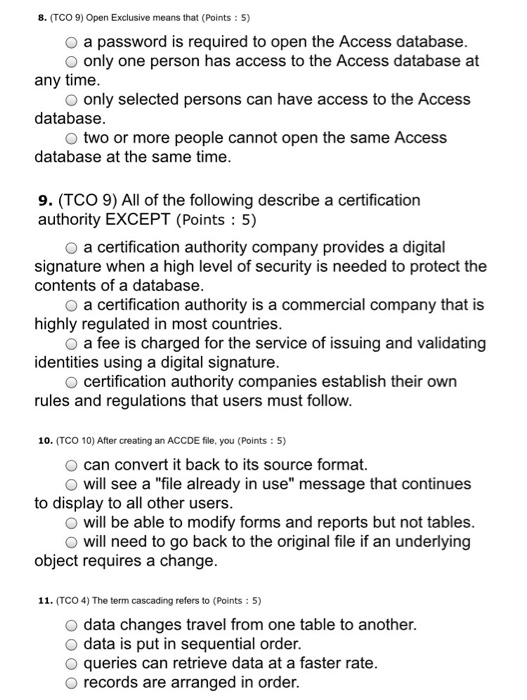 Solved: Open Exclusive Means That A Password Is Required T