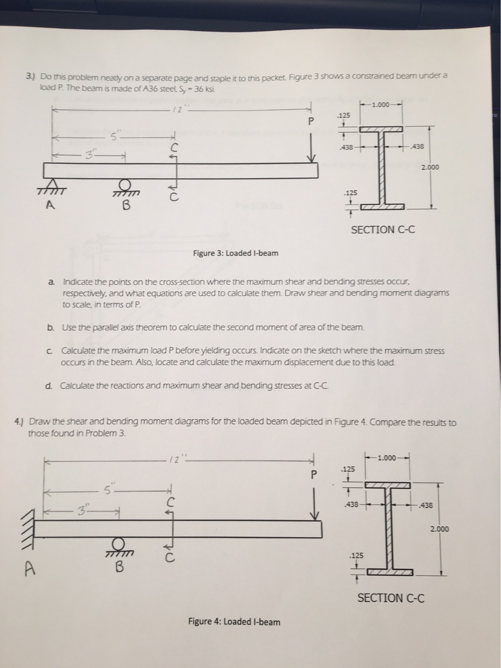Solved Indicate The Points On Cross Section Where Draw Shear And Bending Moment Diagrams For Cheggcom