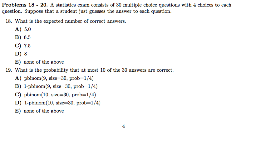 solved a statistics exam consists of 30 multiple choice q